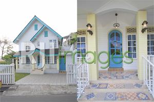 fasad rumah bergaya shabby chic & pintu utama dengan