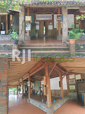Konsep bangunan Pendopo dengan batubata ekspos dan Aksen material batu dalam Pen