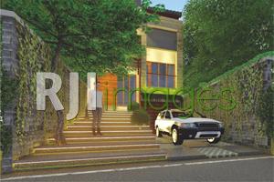 Pembatas ruang milik rumah dan jalan menggunakan hard materials