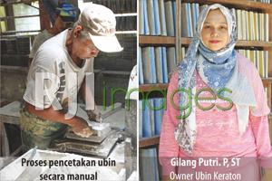 Proses pencetakan ubin dan Gilang Putri