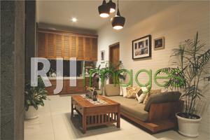 Ruang keluarga yang simpel dengan sentuhan unsur kayu