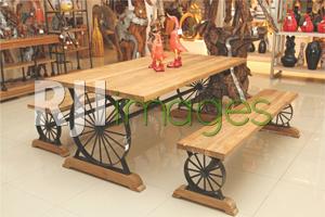 Table set kayu roda