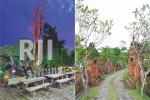 Meja kursi kuno pada area depan & Landscape dengan nuansa Bali