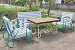 Wooden vintage table set